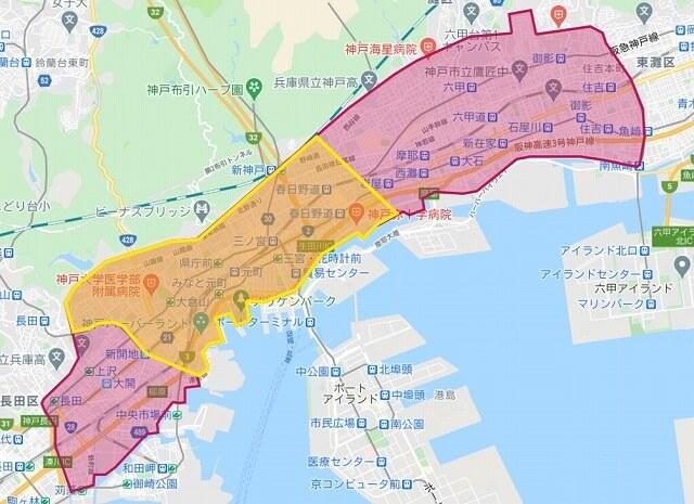 フードパンダの兵庫県神戸市の配達範囲エリア