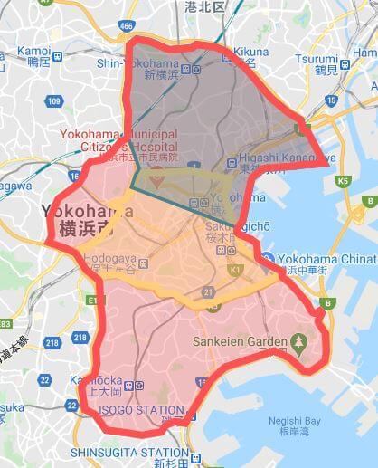 フードパンダの神奈川県横浜市の配達範囲エリア