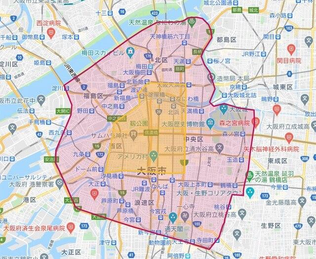 フードパンダの大阪府大阪市の配達範囲エリア